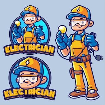 Modèle de logo mascotte électricien