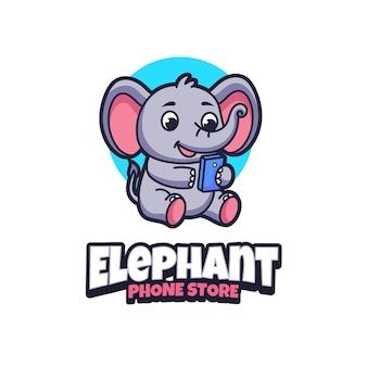 Modèle de logo mascotte elephant phone store