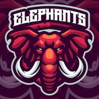 Modèle de logo mascotte éléphant rouge