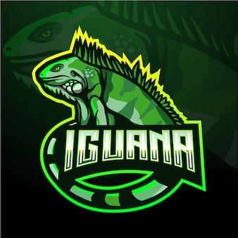 Modèle de logo de mascotte esport iguane