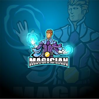 Modèle de logo de mascotte esport magicien