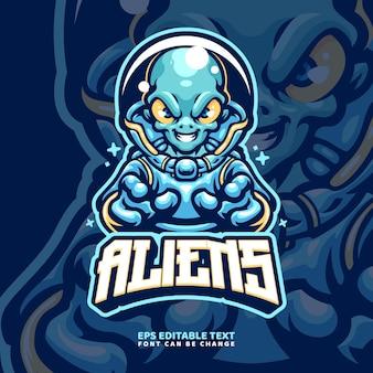 Modèle de logo de mascotte extraterrestre