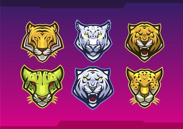 Modèle de logo de mascotte de famille de chat 1