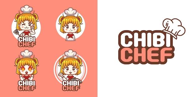 Modèle de logo mascotte fille chibi mignon
