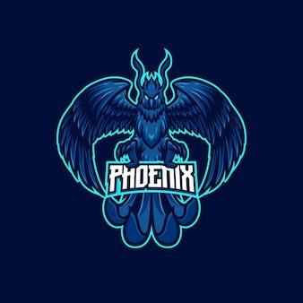 Modèle de logo de mascotte de foudre phoenix