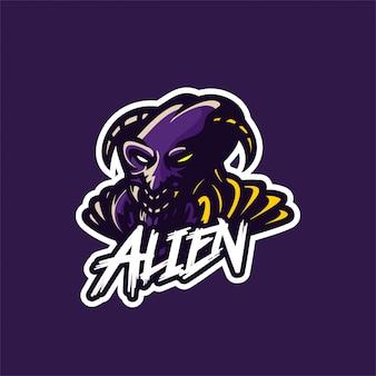 Modèle de logo mascotte fourmi extraterrestre