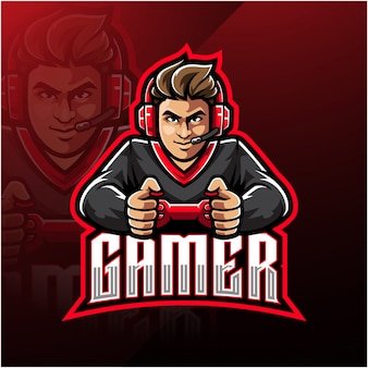 Modèle de logo de mascotte gamer esport