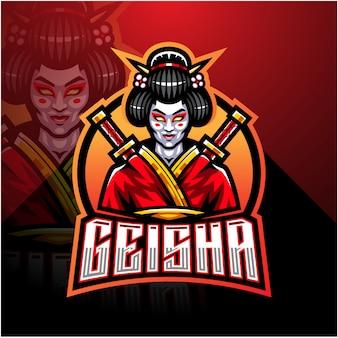 Modèle de logo de mascotte geisha esport