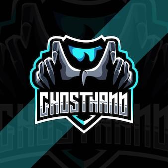 Modèle de logo mascotte ghosthand
