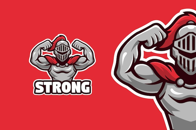 Modèle de logo mascotte gladiateur fort