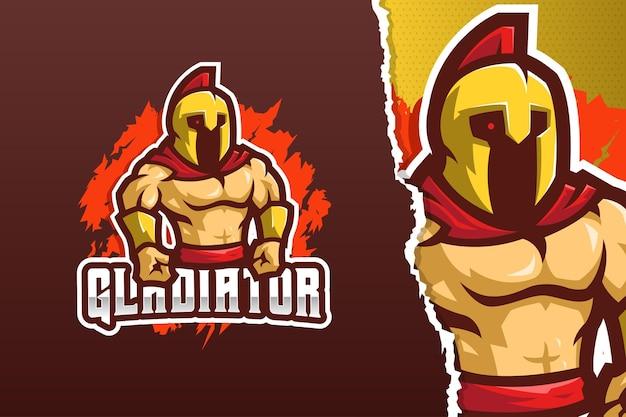 Le modèle de logo de mascotte de gladiateur