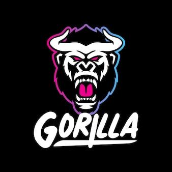 Modèle de logo de mascotte de gorille monstre