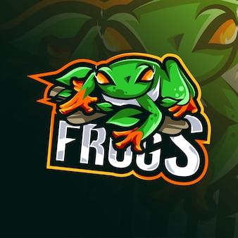 Modèle de logo de mascotte de grenouille