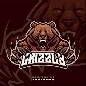 Modèle de logo de mascotte grizzly bear