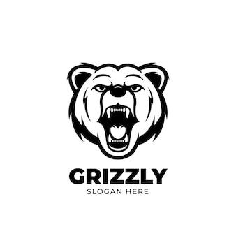 Modèle de logo de mascotte grizzly creatives ours en colère