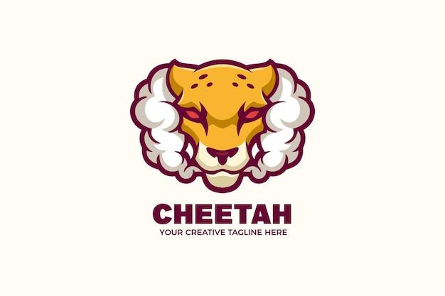 Modèle de logo de mascotte de guépard de fumer