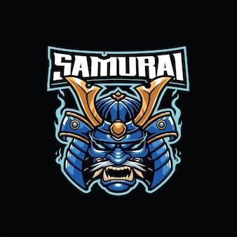 Modèle de logo de mascotte de guerrier samouraï pour l'équipe de logo d'esport et de sport
