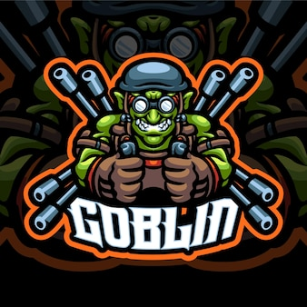 Modèle de logo de mascotte gunner goblin