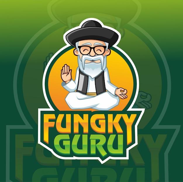 Modèle de logo mascotte guru funky
