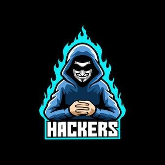 Modèle de logo de mascotte de hacker e-sport
