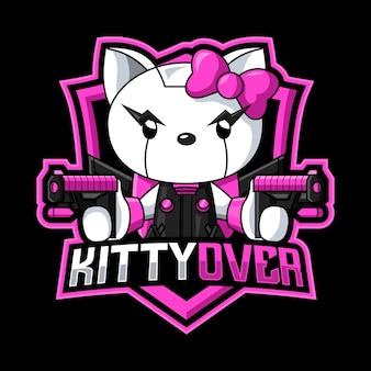 Modèle de logo de mascotte hello kitty