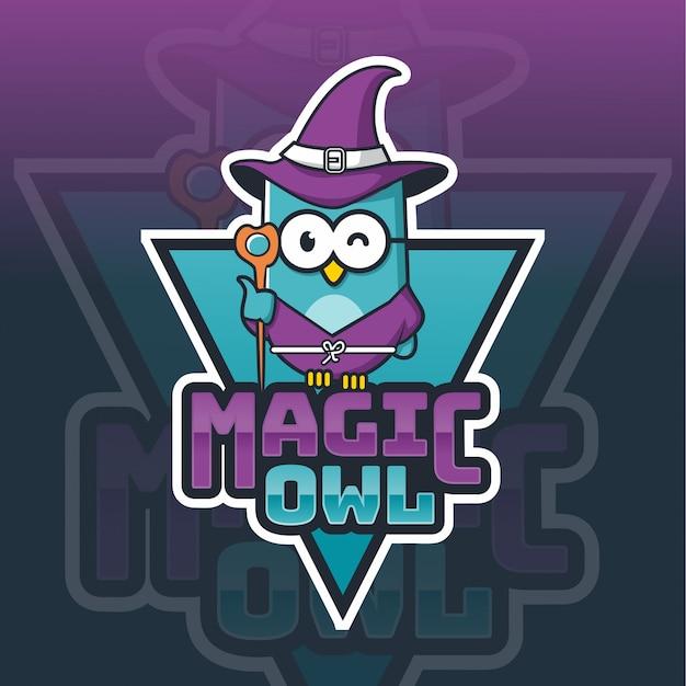 Modèle de logo mascotte hibou magique