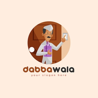 Modèle de logo de mascotte indienne dabbawala