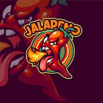 Modèle de logo mascotte jalapeno