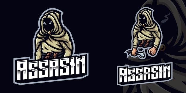 Modèle de logo de mascotte de jeu assassin pour streamer esports facebook youtube