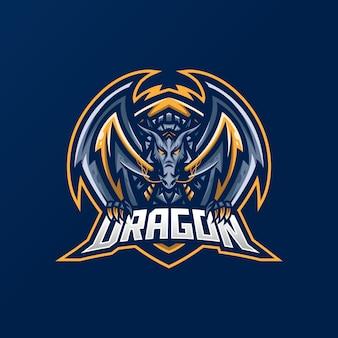 Modèle de logo de mascotte de jeu dragon esport