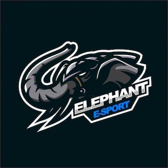 Modèle de logo de mascotte de jeu e-sport éléphant