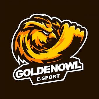Modèle de logo de mascotte de jeu e-sport hibou doré