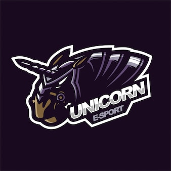 Modèle de logo de mascotte de jeu e-sport licorne