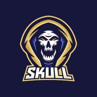 Modèle de logo de mascotte de jeu esport crâne