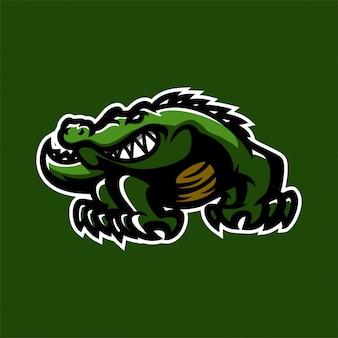 Modèle de logo de mascotte de jeu esport crocodile alligator