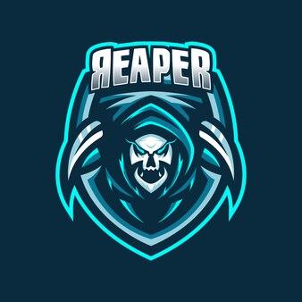 Modèle de logo de mascotte de jeu esport grim reaper