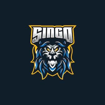 Modèle de logo de mascotte de jeu lion esport