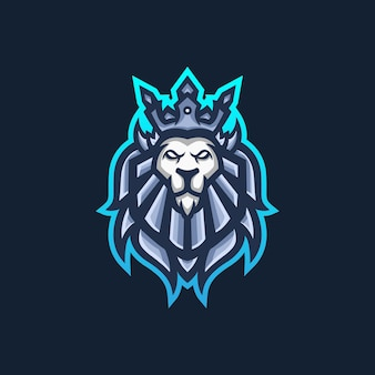 Modèle de logo de mascotte de jeu lion king esport pour l'équipe de streamers.