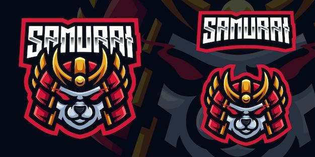 Modèle de logo de mascotte de jeu samurai panda pour esports streamer facebook youtube