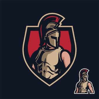 Modèle de logo de mascotte de jeu sparta / spartan