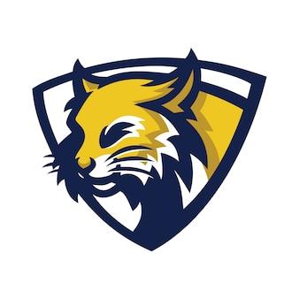 Modèle de logo de mascotte de jeu de sport bobcat