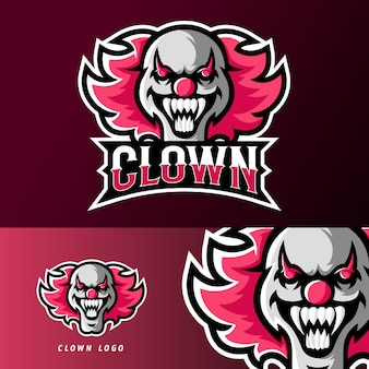 Modèle de logo de mascotte de jeu de sport ou de sport de masque de clown