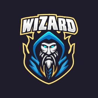 Modèle de logo de mascotte de jeu wizard esport
