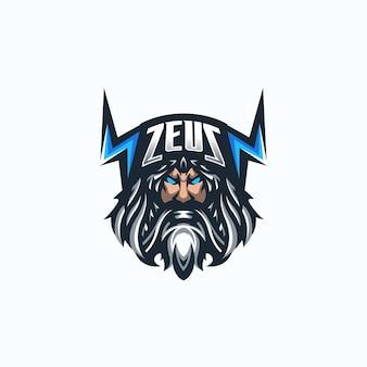 Modèle de logo de mascotte de jeu zeus esport.