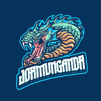 Modèle de logo de mascotte jormungardr