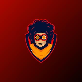 Modèle de logo de mascotte de joueur