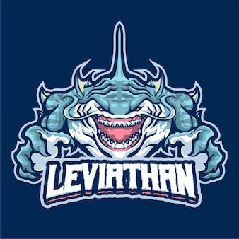 Modèle de logo de mascotte de léviathan