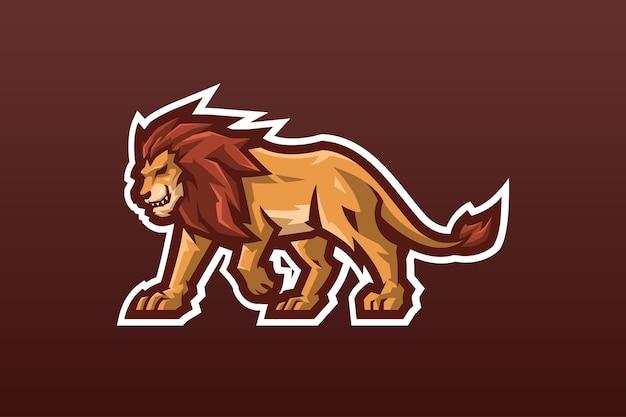 Modèle de logo de mascotte de lion sauvage