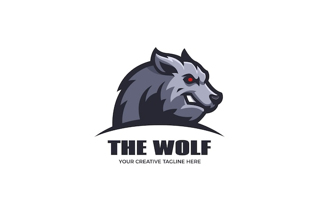 Modèle de logo de mascotte de loup en colère