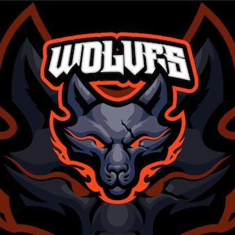 Modèle de logo de mascotte de loup